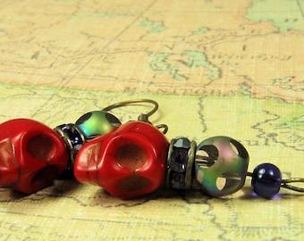 Red Skull and Purple Rhinestone Earrings