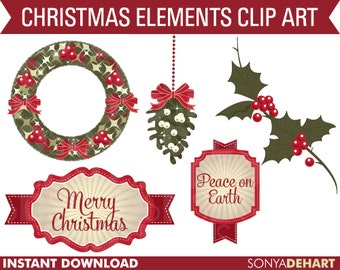 80% OFF Sale Clipart Christmas Wreath Tag Mistletoe Holly Set  Commercial Use