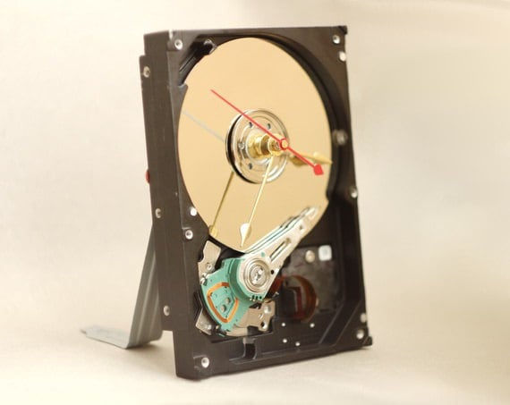 Desk clock made from a recycled Computer hard drive ready to ship