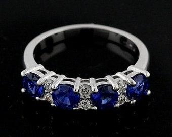 Diamond Blue Sapphire Wedding Ring, Shared Prong Half Way Gold Wedding Band, Diamond Gemstone Alternately Set Women's Wedding Ring 4.5mm