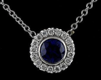 Diamond Sapphire Modern 14K White Gold Charm Pendant Necklace