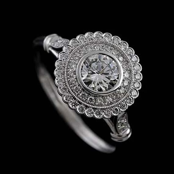 Art Deco Basket Flower Engagement Ring, Double Halo Certified Diamond Engagement Ring, Round Cut Diamond Bridal Ring, Antique Inspired Ring