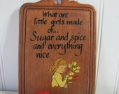 Vintage Plaque What are Little Girls Made of