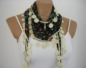Womens Scarf Black Flowered Cotton Scarf Summer Fashion Blue Pink Green Yellow