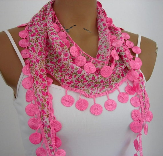 Bright Pink Cotton Scarf Woman Shawl Cowl with Lace Edge Green