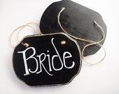 Bride and Groom Chair Signs,Chalkboard Back, Wedding Decor, Woodland Wedding, by Green Orchid Design Studio
