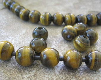 Tiger Eye Large Hole Bead 12MM Round 4MM Big Hole 9 Beads Fit over Leather