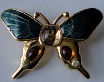 Vintage Monet Signed Teal Gold Tone Butterfly