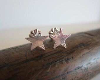 Art Nouveau Star Sterling Silver Stud Earrings