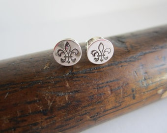 Fleur-de-lis Sterling Silver Stud Earrings