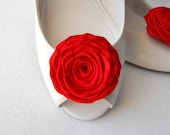 Handmade rose shoe clips bridal shoe clips wedding accessories in red