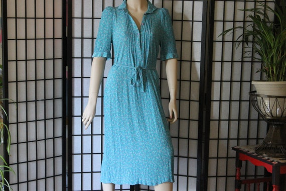 Vintage French Day Dress Hand Finished  Blue Mid Calf  Medium
