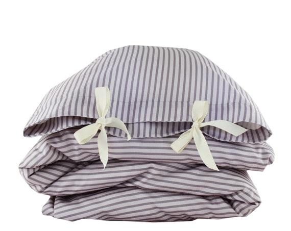 ORGANIC Toddler Bedding set - Stripes - lavender, purple