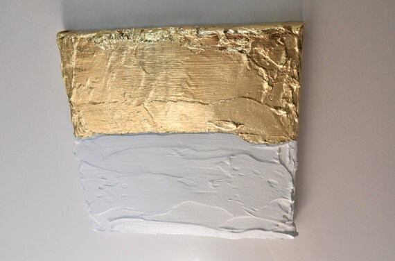 Modern contemporary gold white painting on canvas G9