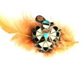 Vintage Zuni Thunderbird Pin, Native American Inlaid Stones, MOP Jet Coral Turquoise
