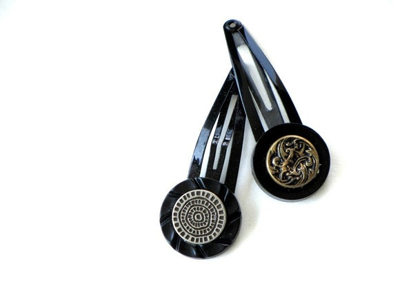 Hair Snap Clips Black Silver Gold Back To School Hair Jewelry