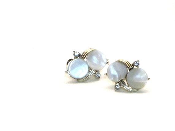 Vintage Coro White MOP Rhinestone Earrings, Gold, Clips, Madmen