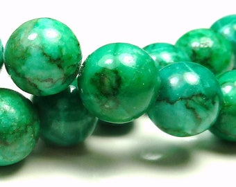 Green and Teal Green Black Veined Marble Round Gemstone Beads - 10pcs - 14mm to 15mm - BC9