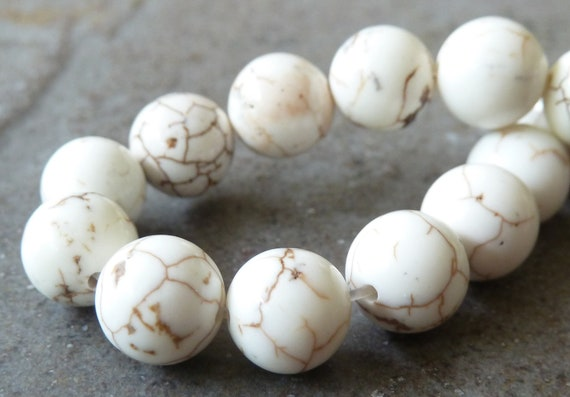 8mm Creamy White Magnesite Matrix Round Gemstone Beads - 16 Inch Strand - Opaque, Rustic Beads - BB22