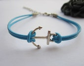 Symbol Bracelet---antique silver little anchor&light blue leather chain