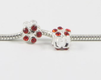3 Beads - Red Flower Rhinestone Silver European Charm Bead E0621