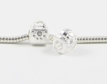3 Beads - White Purse Handbag Rhinestone Silver European Bead Charm E0636