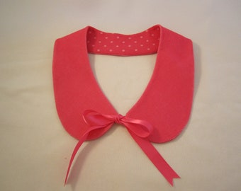 Bright pink corduroy lined Peter Pan collar with satin ties   Ready to Ship detachable collar