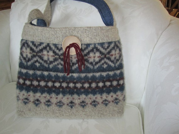 Wool purse in Fair Isle pattern from felted sweater OOAK Ready to Ship