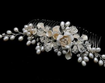 Elegant Vintage inspired ivory Porcelain Flower & Leave, Metal Flower, Rhinestone, Crystal and Fresh Water Pearl Comb