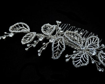 Vintage inspired Bridal Hair Comb - Clear Rhinestone Crystal bridal hair comb