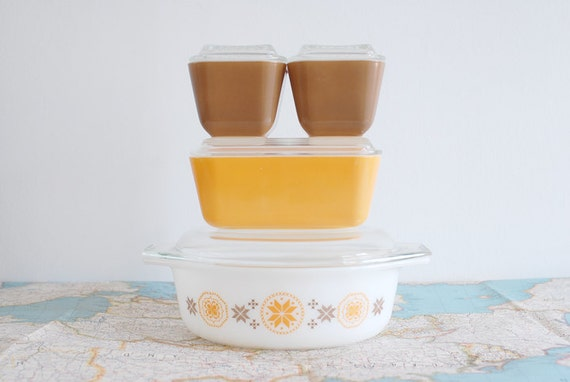 RESERVED for BRITTANY Vintage Town & Country Pyrex Set - Light Orange and Brown 1960's Casserole and Refrigerator Dishes with Lids
