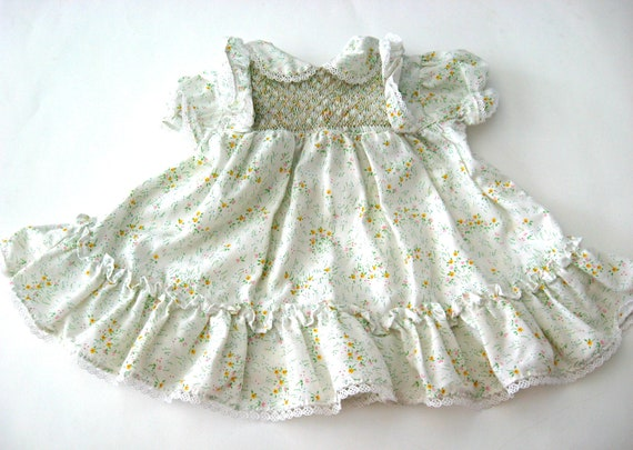 Vintage Baby Girl Dress 12 Months White With Flowers Hand Smocked