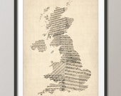 Great Britain UK Old Sheet Music Map, Art Print (176)