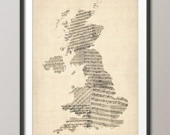 Great Britain UK Old Sheet Music Map, Art Print (176)