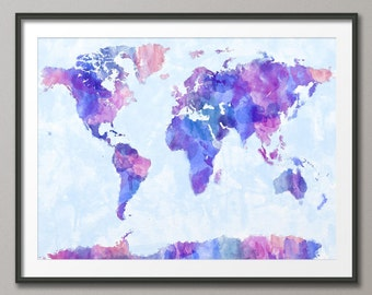 Map of the World Map Watercolor Painting, Art Print (143)