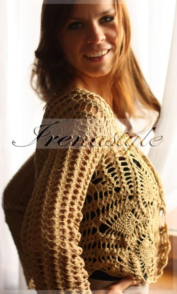 Shrug Bolero . ELEGANT   blouse,    crochet handmade