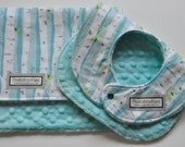 BIb and BURP Cloth Gift Set in Birch Trees with aqua minky
