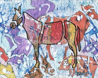 "Original batik on paper ""Animales de granja"""
