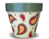 Hand Painted Flower Pot in Paisley For Your Home or Garden Decor - 8-inch size