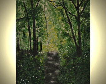 Woodland Trail - Original Acrylic Canvas Painting, Woods Sunlight Trail, Forest, Green Leaves, Trees, Hiking Trail
