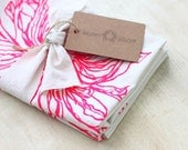 Dish Towel Tea Kitchen Daisy Flower Pink Fuchsia Magenta Cloth Linen Screen Print Hand-Printed Gift Hostess Single Towel