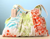 Floral Custom Purse Beach Bag Handbag Tote Hobo Large Pieced Patchwork Painted Original OOAK Mix Match Turquoise Orange Chartreuse Gift
