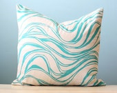 Pillow Cushion Cover Decorative Wave Stripe Linen Throw 18x18 Turquoise Painted Hand-Printed Screen Print Modern Wedding Nature Gift