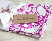 Tea Towel Moroccan Purple Fuchsia Kitchen Dish Cloth Linen Screen Print Hand-Printed Hostess Gift Single Towel
