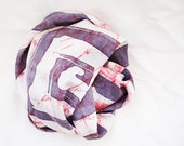 Batik Square 100% Silk Scarf Gray , Red  with White 60X60 cm