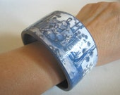 Beautiful decoupaged bracelet,bangle  with the Japanese motive,genre scene,zakka.