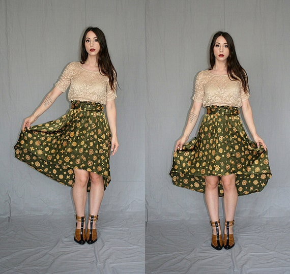 Silky Emerald Green Skirt with Gold Jewel Print