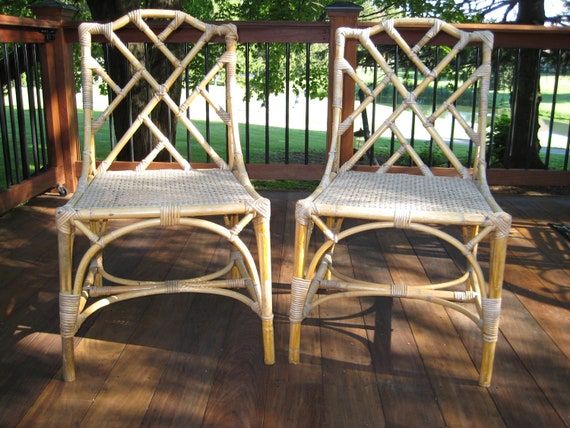 Chinese Chippendale Style Bamboo Rattan Chairs Hold For