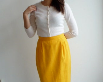 Vintage 60s Yellow Pencil Skirt s/m