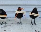 halloween black sparkle glitter  RAVEN crow with banner decoration bird
